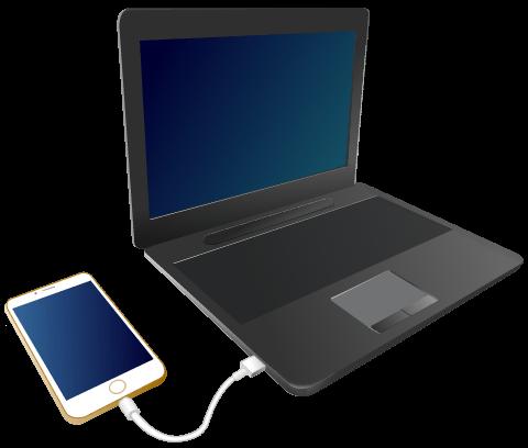 iPhone/iPad とパソコンを、付属のUSBケーブルで接続