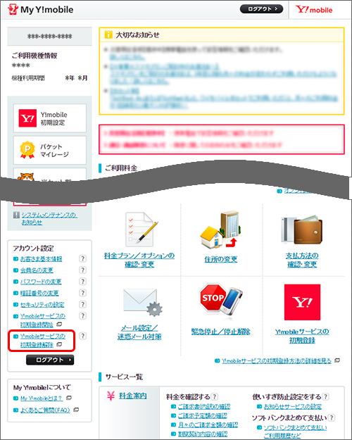 「Y!mobileサービスの初期登録解除」をクリック