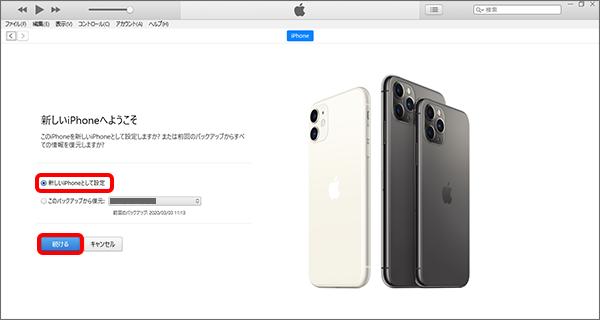 「新しい iPhone/iPad として設定」「続ける」