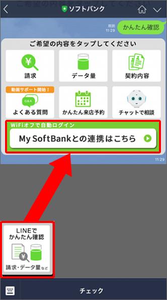 「My SoftBankとの連携はこちら」をタップ