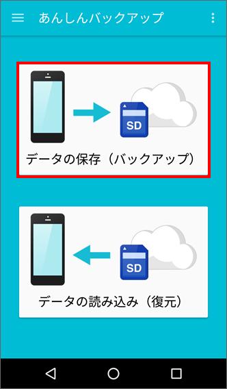 「データの保存(バックアップ)」を選択
